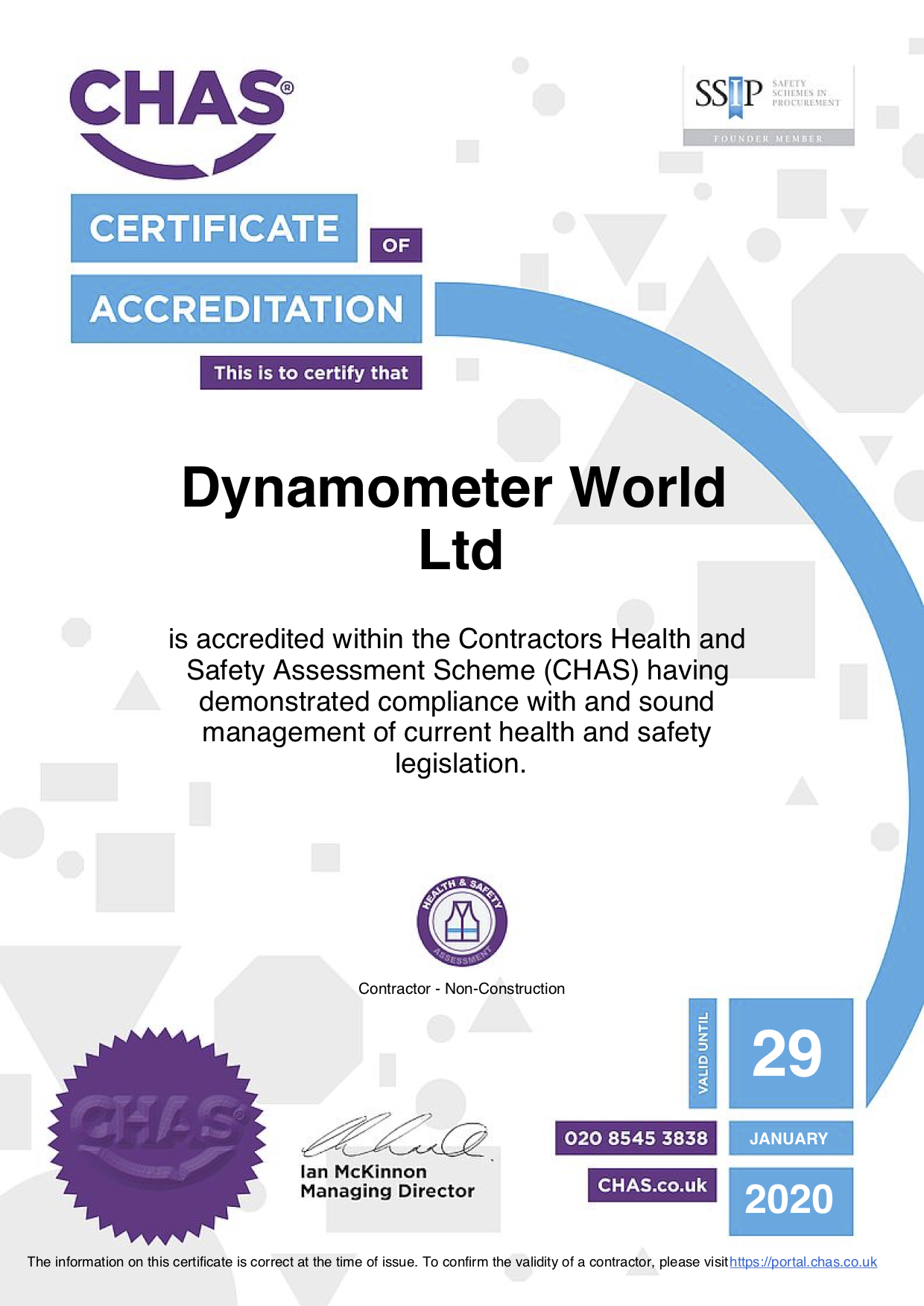 CHAS Certificate 2019 Dynamometer World Ltd
